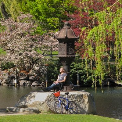 Biker, lantern, public garden-1061
