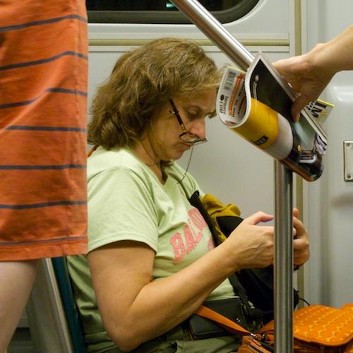 IMG_1168 - Version 22011-08-17-MBTA-Passanger-glasses-texting- © 2011 Penny Cherubino© 2011 Penny Cherubino