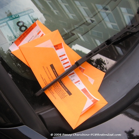 Stack of Boston parking tickets