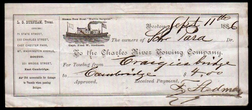 Charles River Towing Company reciept